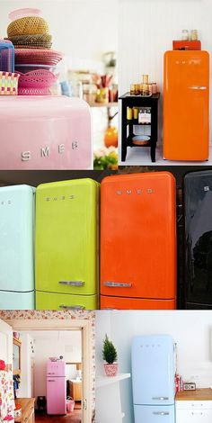 Smeg vintage-stijl koelkasten in kleur.