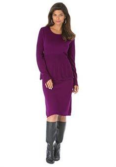 Pointelle Peplum Sweater Dress | Plus Size Casual Dresses | Roamans