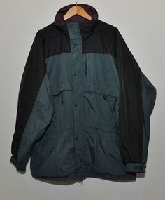 Mens COLUMBIA SKI jacket Full Zip Green Black Missing Hood 5pocket Winter #Columbia #SKIJacket