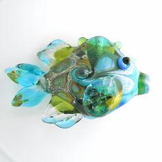 Handmade lampwork glass fish bead