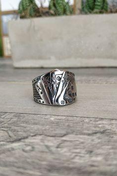 Ανδρικό δαχτυλίδι 'Royal Flush' (Ατσάλι)