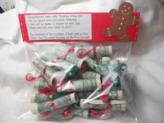 Money gift idea: Roll dollar bills and tie with ribbon, could also mix in with tootsie rolls, etc.
