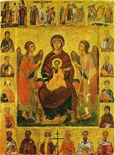 ПАНТАНАССА ВСЕЦАРИЦА или Госпожа Ангелов с 12 апостолами и избранными святыми ПЛАТИТЕРА (Госпожа Ангелов) с праздниками и избранными святыми Северная Греция, XVI в., 87 x 67 cм. Benakis Museum, Афины.