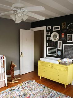 Nice grey wall - another grey paint idea for dining room turned office. Would look nice with teal as accent...