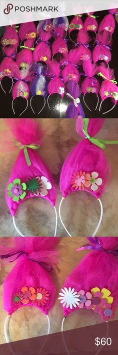 Lot of 22 homemade Trolls headband party favors Super cute Troll headbands, made way to many for my daughters birthday party. They were a huge hit!! Sell on another site for $10 each. Selling the whole lot of 22. If you need less send me an offer and I'll se what I can do Costumes