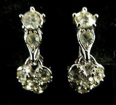 Bogoff Signed Earrings Vintage Silver Tone Rhinestone Heart Dangles | eBay