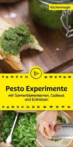 Du magst gerne Pesto? Dann schau dir unser Video an. Darin gibt es verschiedene Pesto-Experimente mit Sonnenblumenkernen, Cashews und Erdnüssen. Es wird sicher was für dich dabei sein.