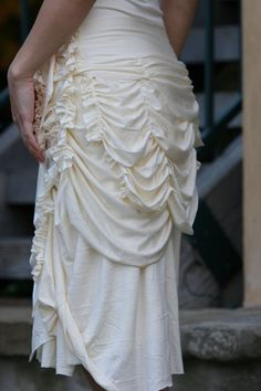 cream bustle skirt