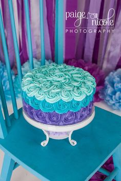 """1st Birthday Smash Cake. 9"""" double layer WASC cake with vanilla buttercream. Teal purple ombré cake."""