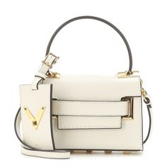 Valentino My Rockstud Mini Leather Shoulder Bag ($1,950) ❤ liked on Polyvore featuring bags, handbags, shoulder bags, white, leather handbags, white leather purse, valentino purses, mini handbags and leather purse