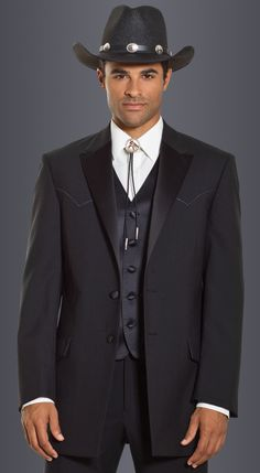Black Western Shane Tuxedo in modern fit,  1-button peak lapel.  Available at #FriarTux