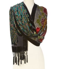 Another great find on #zulily! Black & Green Floral Peacock Silk-Blend Shawl #zulilyfinds