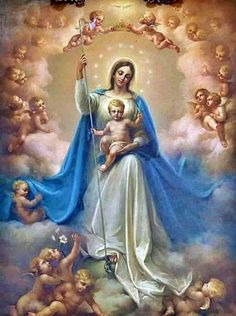 Blessed Virgin Mary and Baby Jesus Blessed Mother Mary, Divine Mother, Blessed Virgin Mary, Virgin Mary Art, Mary Jesus Mother, Catholic Art, Religious Art, Catholic Pictures, Images Of Mary