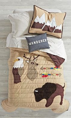 Bring a bit of the outdoors into your bedroom with our Nature Lodge Quilt. Featuring a combination of intricate embroidery and beautiful applique, it's adorned with some of nature's favorite animals. Designed just for us by Tamar Mogendorff. Camping Bedroom, Kids Bedroom, Boy Bedrooms, Outdoor Bedroom, Bedroom Rustic, Bedroom Themes, Bedroom Ideas, Kids Decor, Boy Room