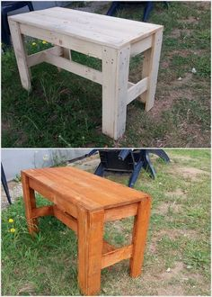 This wood pallet table is a simple and much easy wood pallet recycling project which you can purposely use for the decoration items placement. It is designed out to be light in weight that would be much easy for you to change its location. Your kid can even use it for doing their school homework task.