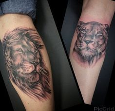 Lion and lioness tattoo Lioness tattoo and Lion and lioness on ...