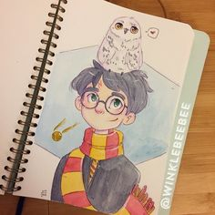 June 26th #dailydrawing [Harry]. Happy 20th anniversary of Harry Potter and the Philosopher's Stone's publication! I can't believe how long it's been, I grew up on these books and they made up such a huge part of my childhood and adulthood alike ✨ #art_daily #artstagram #illustrationdaily #sketchbookdaily #mosseryco #watercolors #koiwatercolors #harrypotter #potterversary #yerawizard #hedwig #instaartist #igdraws #creative_instaarts #illustratenow #abeautifulmessapp #harrypotter20…