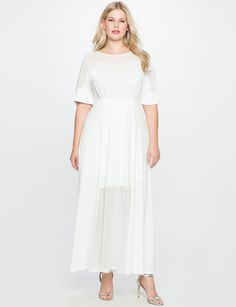 Studio Sheer Detail Gown WHITE