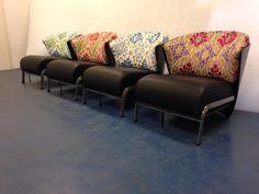 4 Elba Chairs with Manuel Canovas fabrics.
