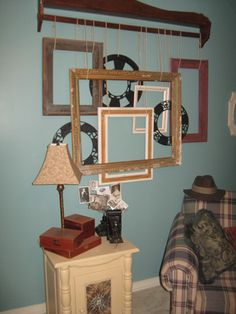 Antique Booth Ceiling Displays | Above is a frame collage I made by hanging old frames from a quilt ...