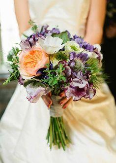Soft purple and peach bridal bouquet