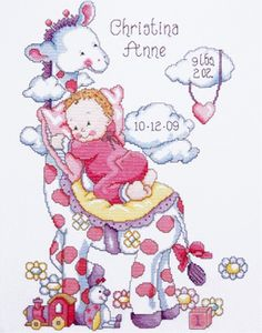 Design Works - Tobin Giraffe Baby Girl Birth Record Counted Cross Stitch Kit for sale online Baby Cross Stitch Kits, Baby Cross Stitch Patterns, Counted Cross Stitch Patterns, Cross Stitch Designs, Cross Stitch Embroidery, Embroidery Patterns, Cross Stitches, Hand Embroidery, Birth Records