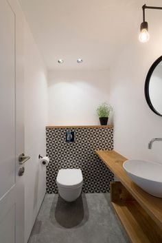 Image result for extra small bathroom and stairs