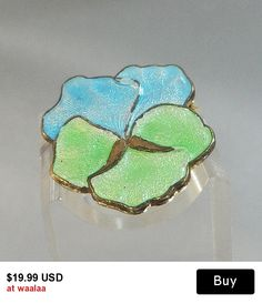 Vintage Pansy Brooch. Baby Blue. Mint Green. Guilloche