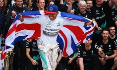 Lewis Hamilton celebrates winning the race and the 2015 world championship. Lewis Hamilton Wins, Ubs, World Of Sports, Formula One, World Championship, Grand Prix, Captain America, Victorious, Superhero