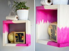 Dip-Dyed Accents: Untreated wood soaks up dye like a sponge. Inexpensive raw shelves are ripe for dip-dye makeovers, like these pink-dipped shadow boxes on Whimsey Box.