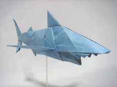 origami shark | ... sheet with no cut difficulty 4 home origami gallery sea life shark