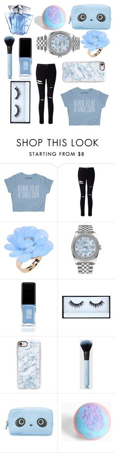 """blue"" by lillyxxx2004 on Polyvore featuring mode, Miss Selfridge, Dettagli, Rolex, JINsoon, Huda Beauty, Casetify, Anya Hindmarch, Torrid en Thierry Mugler"