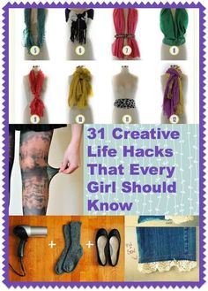 hacks every girl should know 31 Creative Li. hacks every girl should know 31 Creative Life Hacks Every Girl Beauty Hacks Every Girl Should Know, 1000 Lifehacks, Beauty Hacks For Teens, Diy Vetement, Diy Fashion, Fashion Tips, Fashion Hacks, Fashion 2014, Vintage Fashion