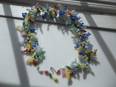 "Vintage Italian Glass Multi-Color Grape Cluster Necklace 19"" #Cluster"