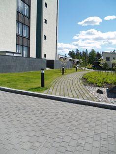 Ideakuvat | Rudus Paving Stones, Concrete, Sidewalk, Golf, Yard, Modern, Patio, Trendy Tree, Side Walkway