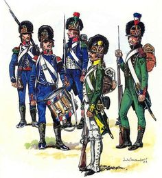 French; Light Infantry. The green uniforms were those issued under the King. Uniform colours tended to change towards blue as battalions were combined to form demi-brigades. With Regular battalions being combined with National guard Battalions(who had always worn blue).
