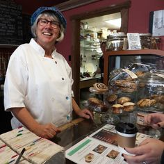 Chef Diane Reesor's smile is contagious!  Patrons of Sweet Bottoms Coffee in Fenelon Falls can't help but fall in love with her & her cooking. #FoodKN  Sweet Bottoms Coffee is stop #10 on the #ButterTartTour and is also home to the Escape from the Ordinary dining experience. Like their pages on FB to see updates and learn more.      #sweetbottomscoffee #sweetbottoms #escapefromtheordinary #fenelonfalls #kawarthalakes #bakery #restaurant #cafe #ontario #ontariotravel #smile #happy #kawarthas…