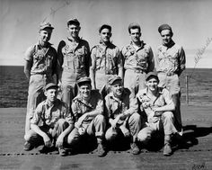 Nine Marine survivors of the USS Indianapolis in 1945. Edgar Harrell is at bottom right.