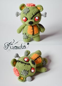 Crochet Bear Krawka: Frankie the zombie bear - merger of teddy bear and Frankenstein's monster, creepy and cute and zombies crochet pattern Crochet Bear, Cute Crochet, Crochet Crafts, Crochet Dolls, Yarn Crafts, Crochet Projects, Crochet Birds, Crochet Teddy, Knitted Dolls