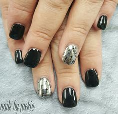 Young nails gel  Black nails with silver and crosses Nails by jackie