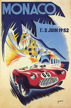 1952 JUNE MONACO GRAND PRIX CAR 60 RACE MONTE CARLO LARGE VINTAGE POSTER REPRO | eBay