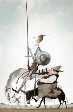 Don Quijote y Sancho Panza by Iban Barrenetxea Tilting At Windmills, Man Of La Mancha, Dom Quixote, Don Miguel, Literary Characters, Love Illustration, Caravaggio, Creature Design, Fantasy Art