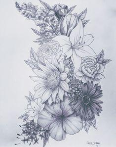 Love this for a tattoo birth flower tattoos, flower sleeve tattoos, floral tattoo sleeves Neue Tattoos, Body Art Tattoos, Drawing Tattoos, Trendy Tattoos, Tattoos For Guys, Neck Tattoos For Women, Tattoo Sleeves Women, Shoulder Tattoos For Women, Manga Florida