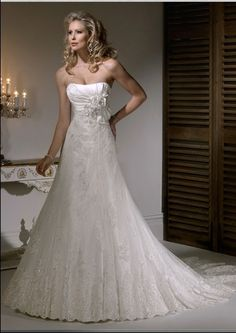 CLICK IMAGE TWICE FOR INFO:) 2013 A-line Strapless Beading Tulle Court Train Wedding Dress