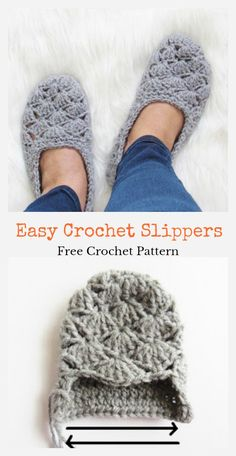 If you are seeking a pattern that looks cute, feels cozy and works up really quickly, this Easy Crochet Slippers Free Crochet Pattern is a great one for you. This is a good option for people who are making crochet slippers for the very first time. Beginner Crochet Projects, Easy Knitting Projects, Crochet For Beginners, Easy Crochet Slippers, Crochet Boots, Knit Crochet, Knitting Socks, Knitting Patterns, Free Crochet Slipper Patterns