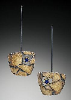 Cobblestone Tetra Earrings: Jenny Reeves: Gold & Silver Earrings - Artful Home