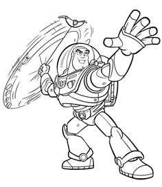 buzz lightyear swing the weapon toy story coloring pages