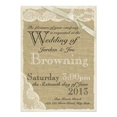 Antique White Lace Country Wedding Personalized Invites