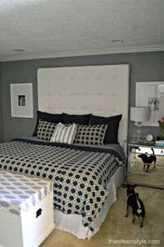 Beau DIY Tall Tufted Headboard  Someday Weu0027ll Finally Get To Our Room And I Want  An Oversized Headboard Like This!