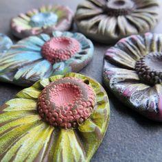 Polymer Clay Flower Garden Beads by Sandra DeYoung-Niese, aka Dandy Beads